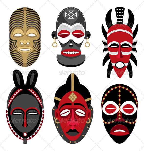 African Masks 2 - Man-made Objects Objects