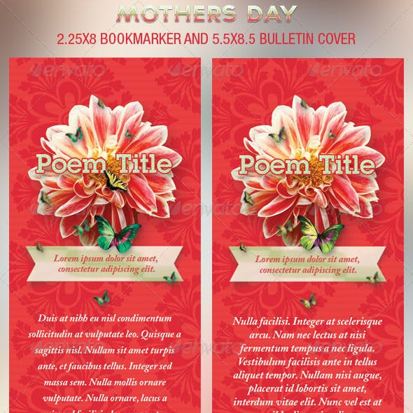 Mothers Day Church Bookmarker Plus Bulletin Cover