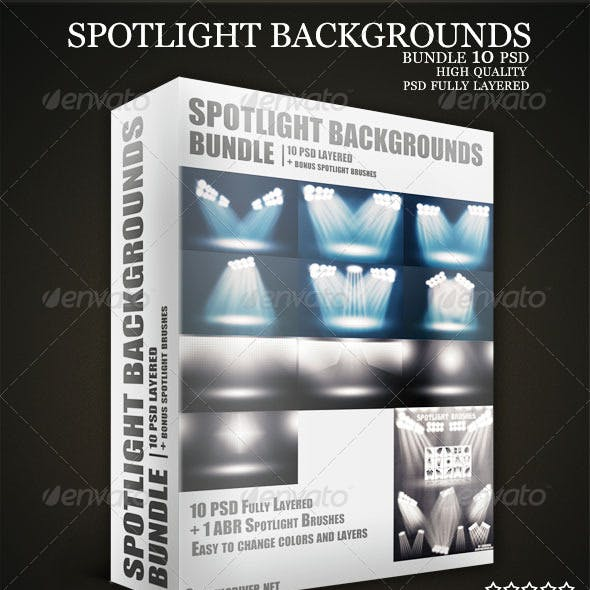 Stadium Spotlights Backgrounds PSD Bundle
