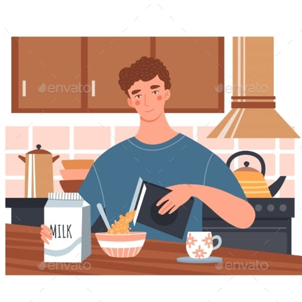 Young Man Having a Healthy Breakfast with Cereal