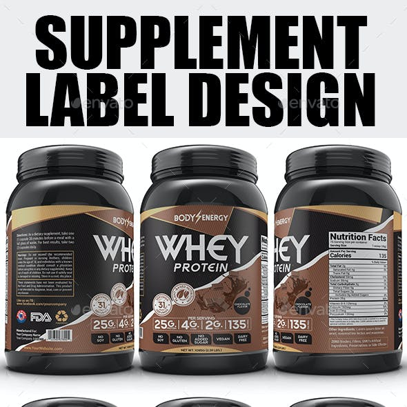 Whey Protein Supplement Label Template