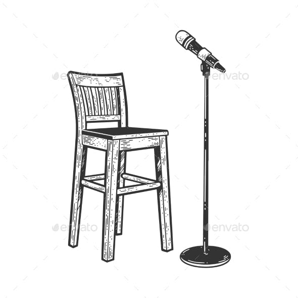 Chair and Microphone Sketch Vector Illustration
