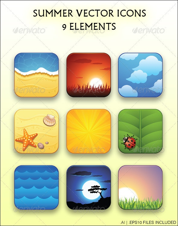 Summer Vector Icons - Landscapes Nature