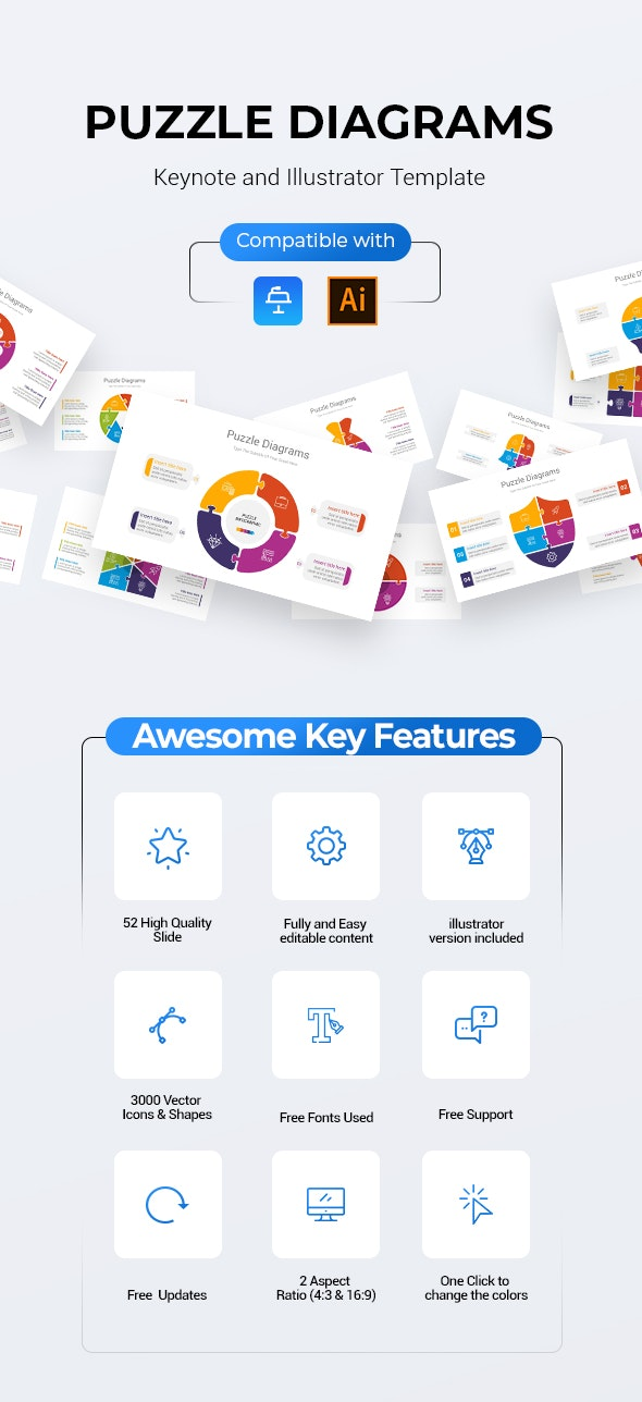 Puzzle Keynote and Illustrator Diagrams - Business Keynote Templates