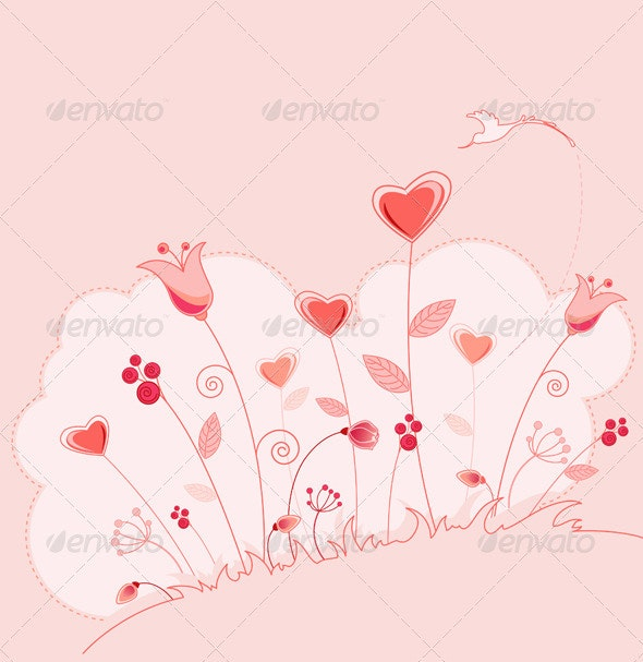 Valentine's Day Greeting Card with Flowers - Valentines Seasons/Holidays