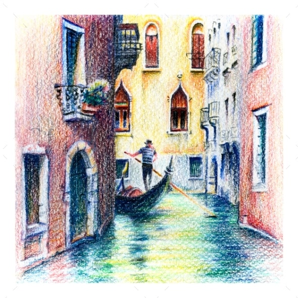 Gondolas on Lateral Narrow Canal in Venice, Italy - Scenes Illustrations