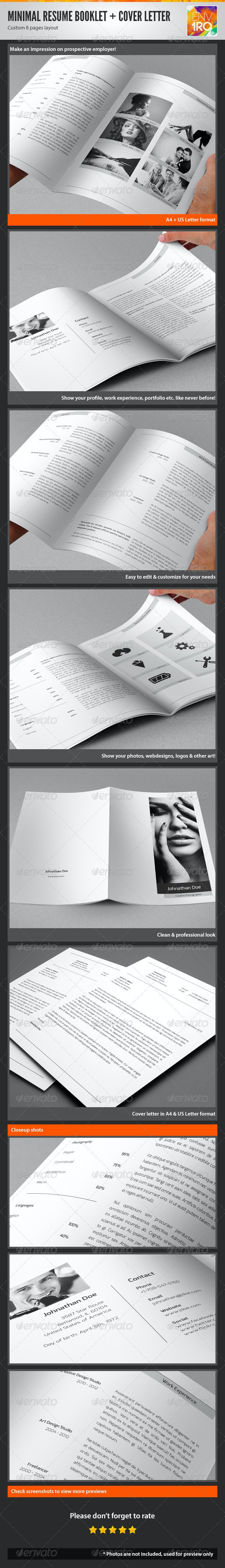 Minimal Resume Booklet & Cover Letter - Resumes Stationery