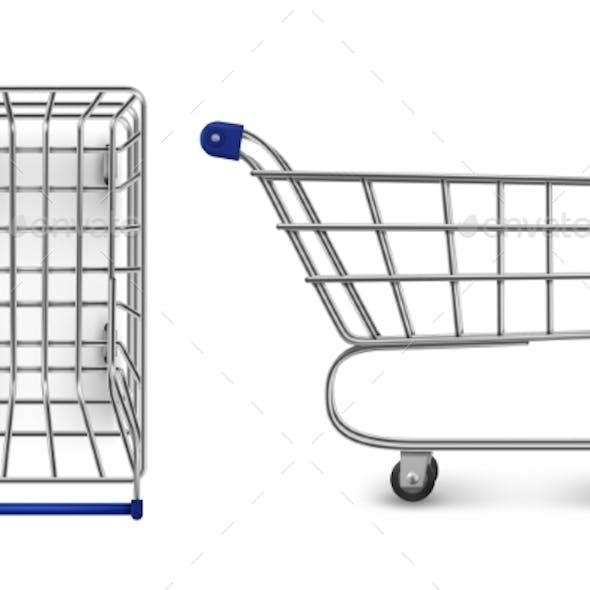 Shopping Trolley Top and Side View, Empty Cart