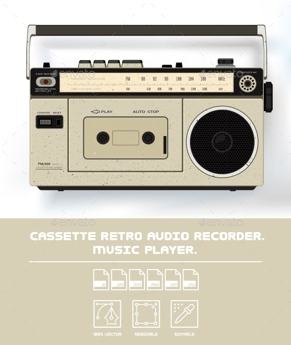 Cassette Retro Audio Recorder Music Player - Man-made Objects Objects