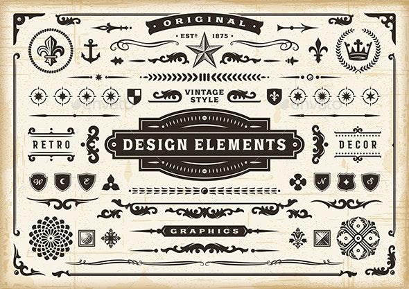 Vintage Original Design Elements Set - Decorative Symbols Decorative
