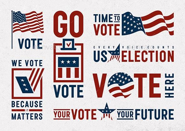 USA Election Motivation Typography And Logos Set - Decorative Symbols Decorative