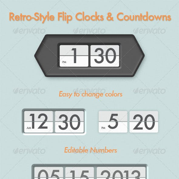 Retro Flip Clock and Countdown Displays