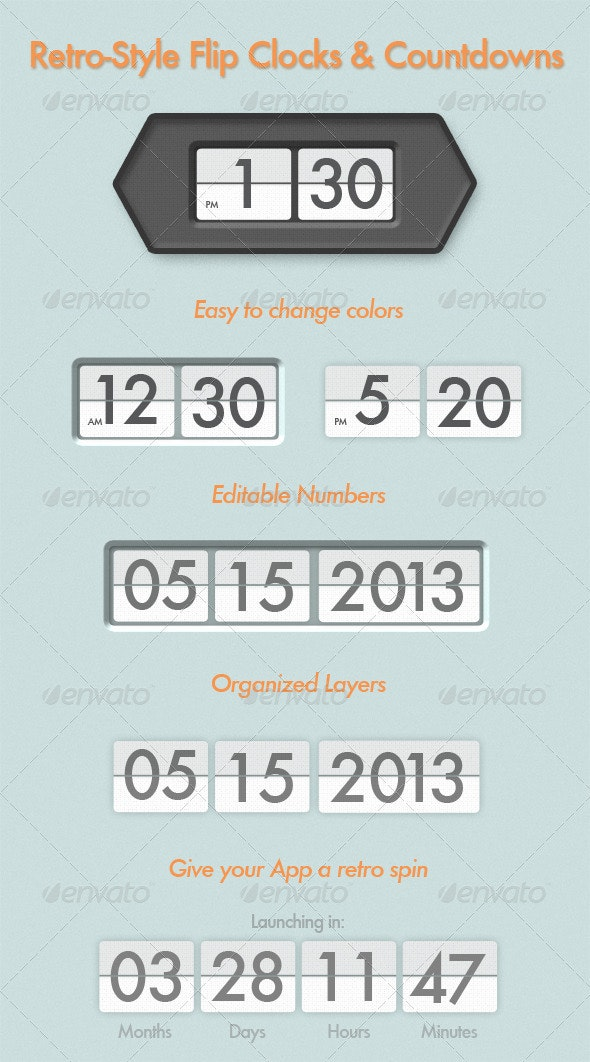Retro Flip Clock and Countdown Displays - Miscellaneous Illustrations