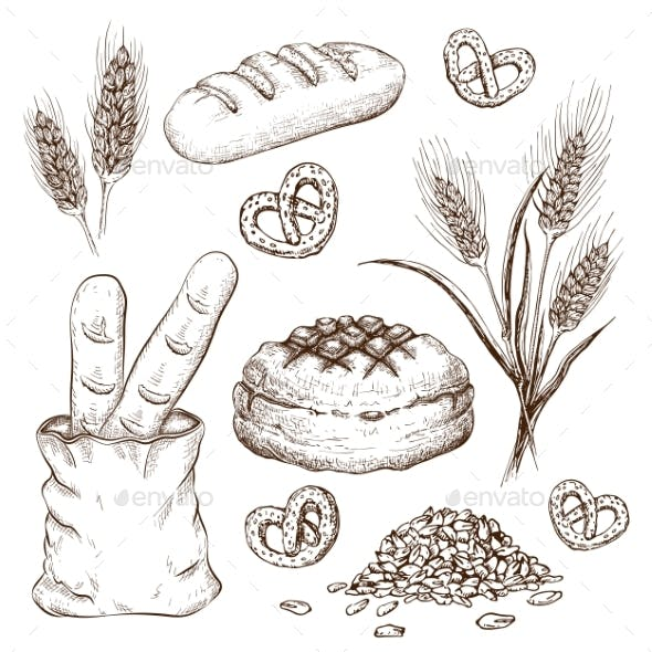 Hand Drawn Breads Set Isolated on White