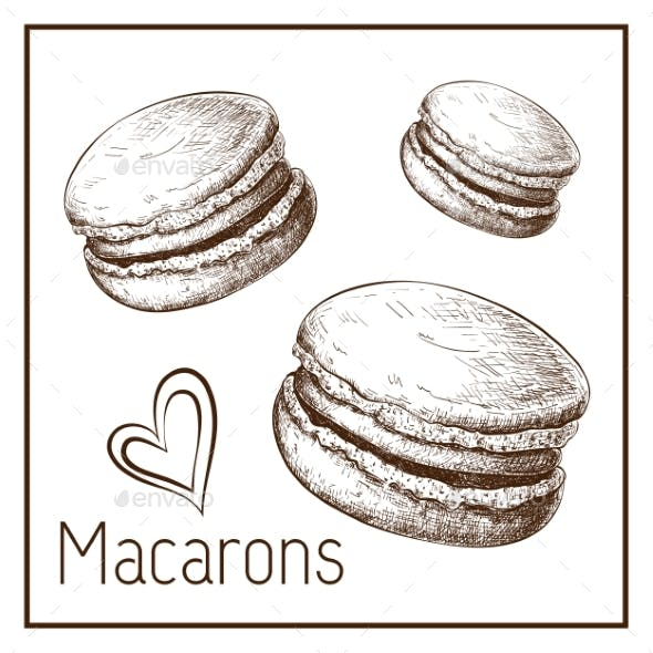 Hand Drawn Cute Macarons Isolated on White