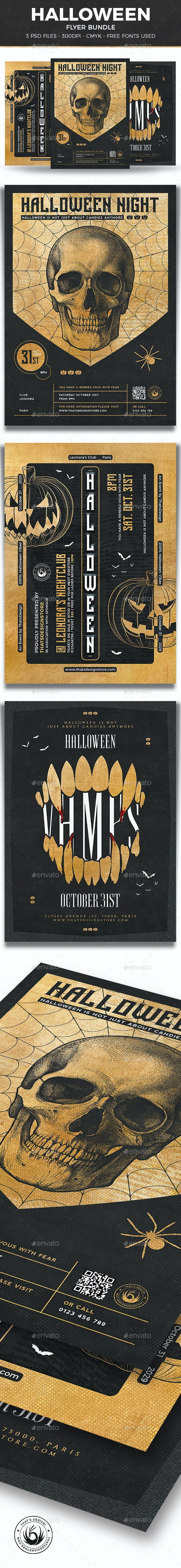 Halloween Flyer Bundle V9 - Clubs & Parties Events