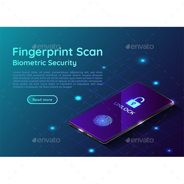 Isometric Web Banner Smartphone with Fingerprint Scaning System