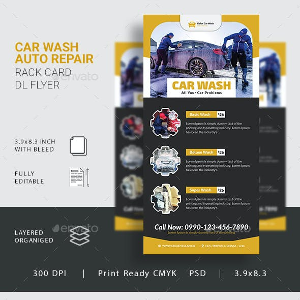 Car Wash Rack Card DL Flyer