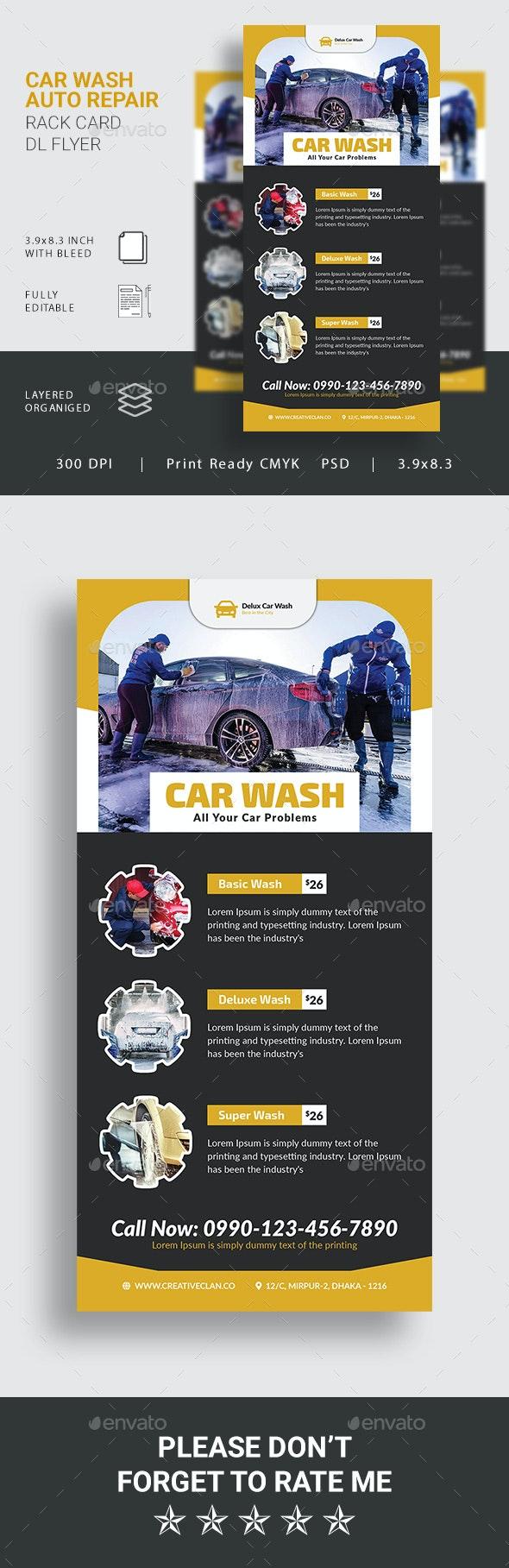 Car Wash Rack Card DL Flyer - Commerce Flyers