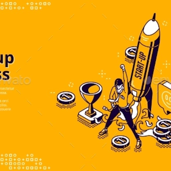Startup Success Isometric Landing Page, Web Banner