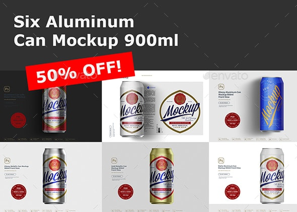 Six Aluminum Can Mockup 900ml - Product Mock-Ups Graphics