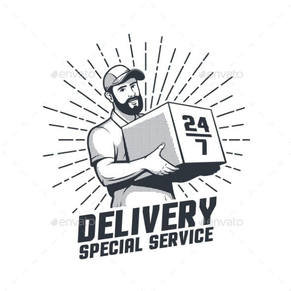 Delivery Service Retro Bearded Courier