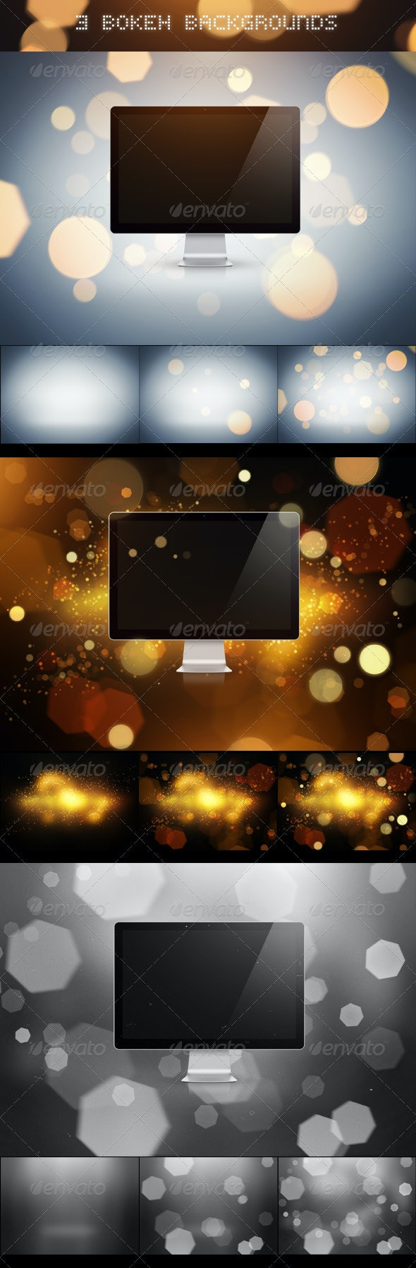 3 Bokeh Backgrounds - Backgrounds Graphics