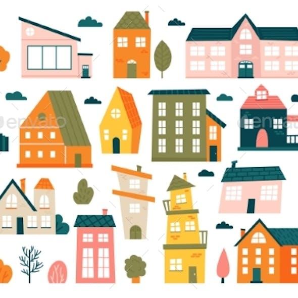 Tiny Houses. Cartoon Small Town Houses