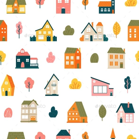 House Pattern. Tiny Town Houses Seamless