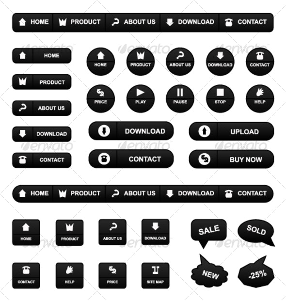 illustrated set of icons - Web Elements