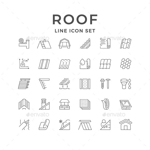 Set Line Outline Icons of Roof
