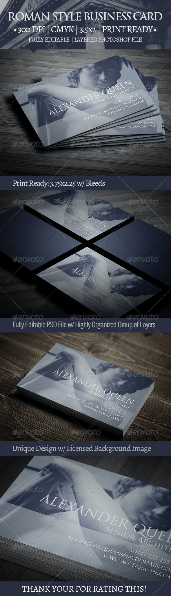 Roman Style Business Card - Creative Business Cards
