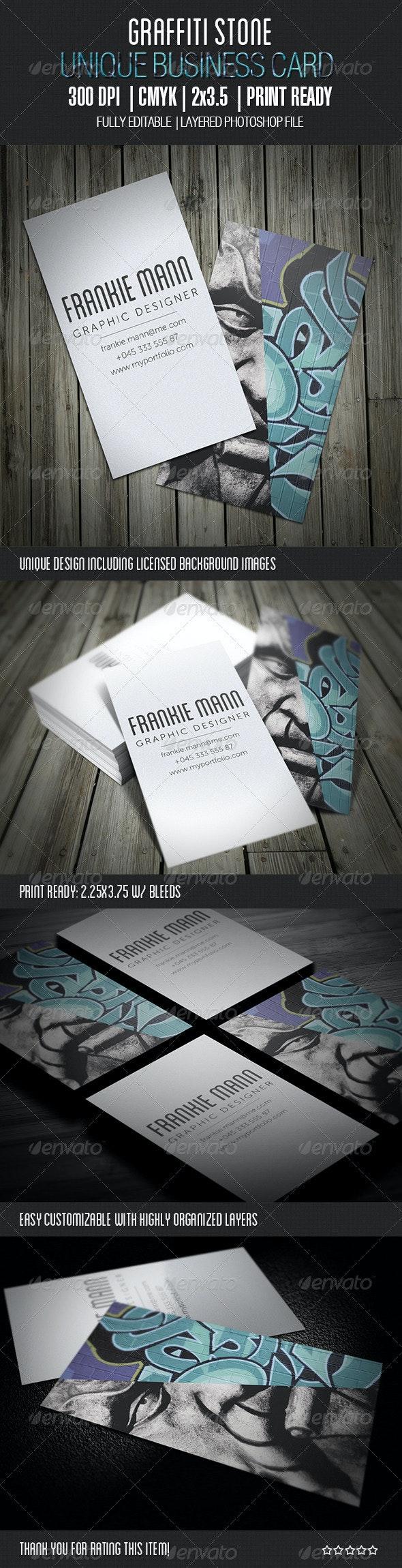 Graffiti Stone Business Card - Creative Business Cards