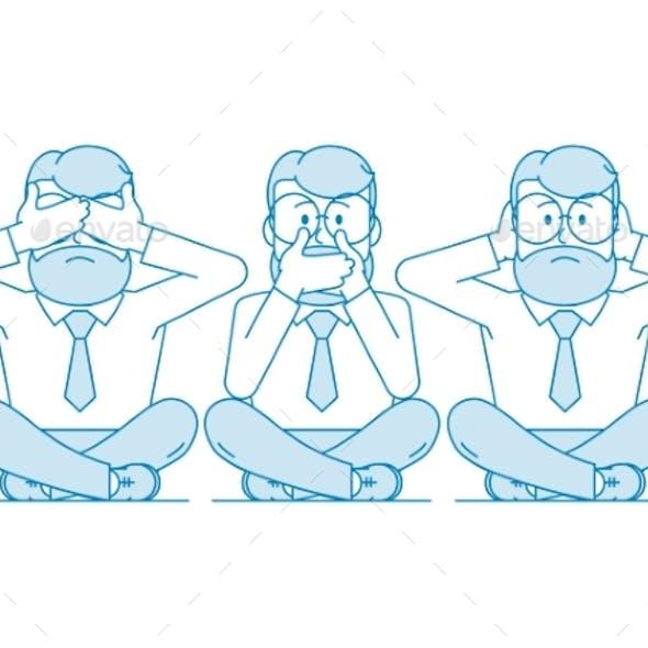 Illustration Three Wise Monkeys