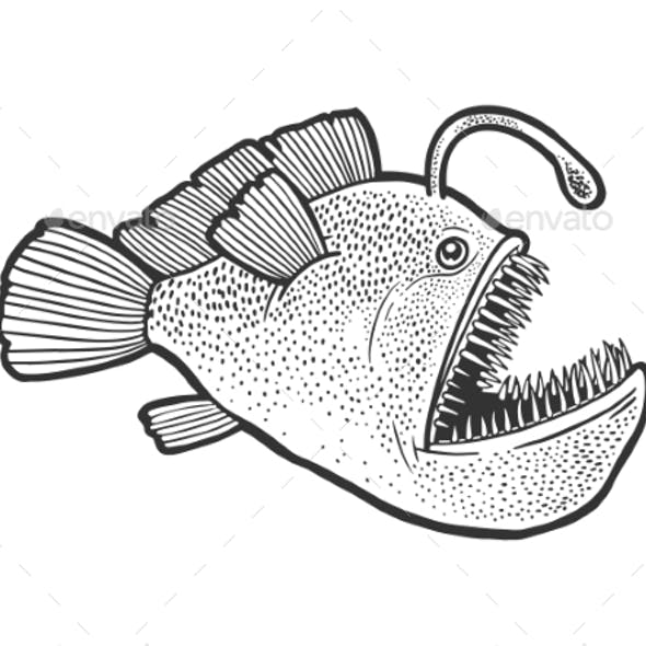 Angler Deep Sea Fish with Light Sketch Vector