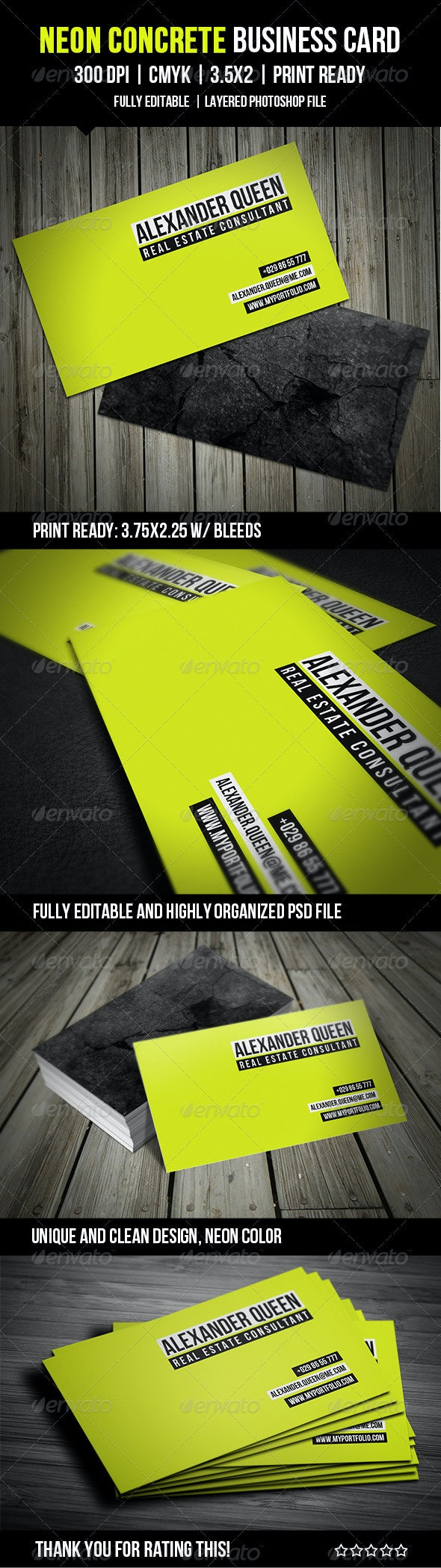 Neon Concrete Business Card - Business Cards Print Templates
