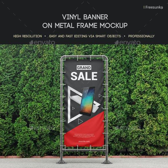 Vinyl Banner On Metal Frame Mockup