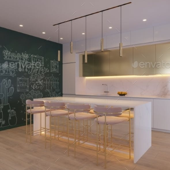3D Illustration of a Kitchen with Cooking Island