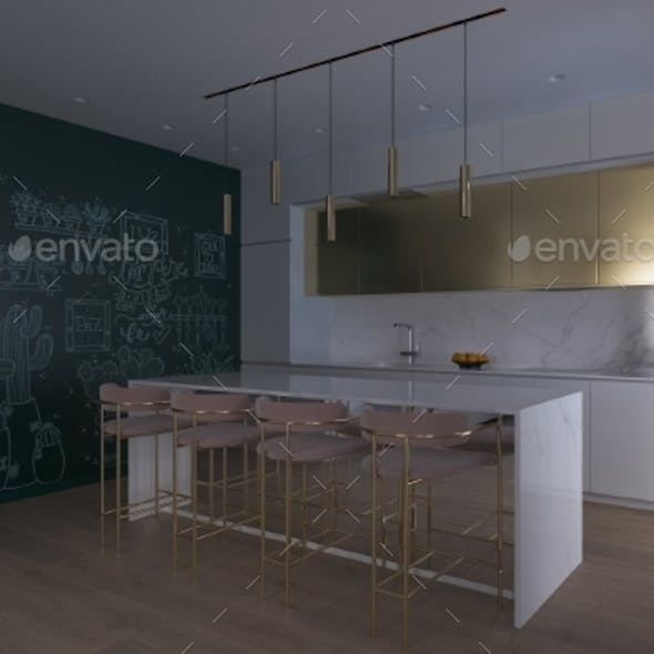 3D Illustration of a Kitchen with Day Lighting