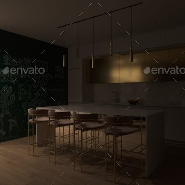 3D Illustration of a Kitchen with Night Lighting.