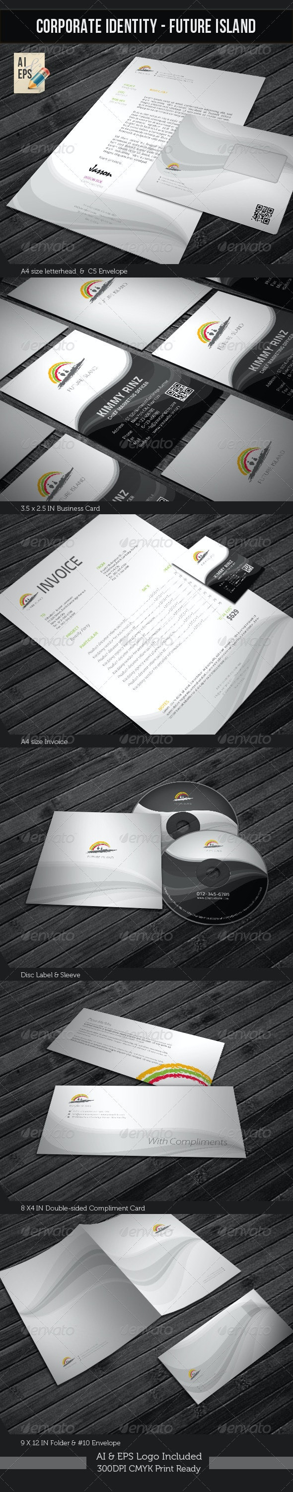 Corporate Identity Package - Future Island - Stationery Print Templates