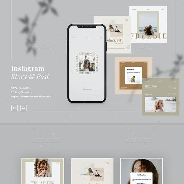 Minimalist Creator Instagram Ads Post and Story Template