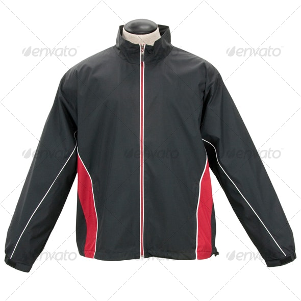 Black & Red Windbreaker Jacket - Clothes & Accessories Isolated Objects