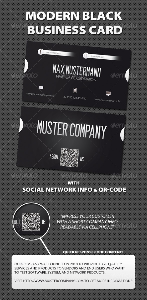 Modern Black Business Card w/ QR-Code - Corporate Business Cards