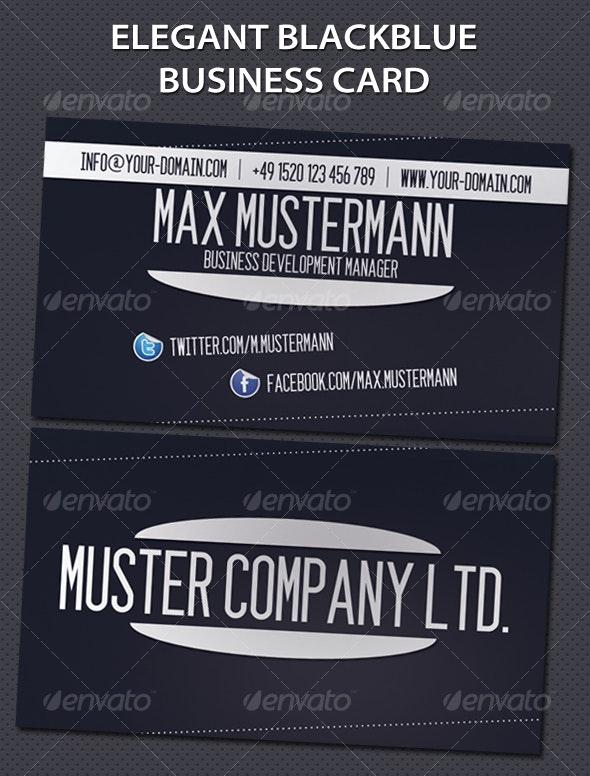 Elegant Blackblue Business Card - Corporate Business Cards