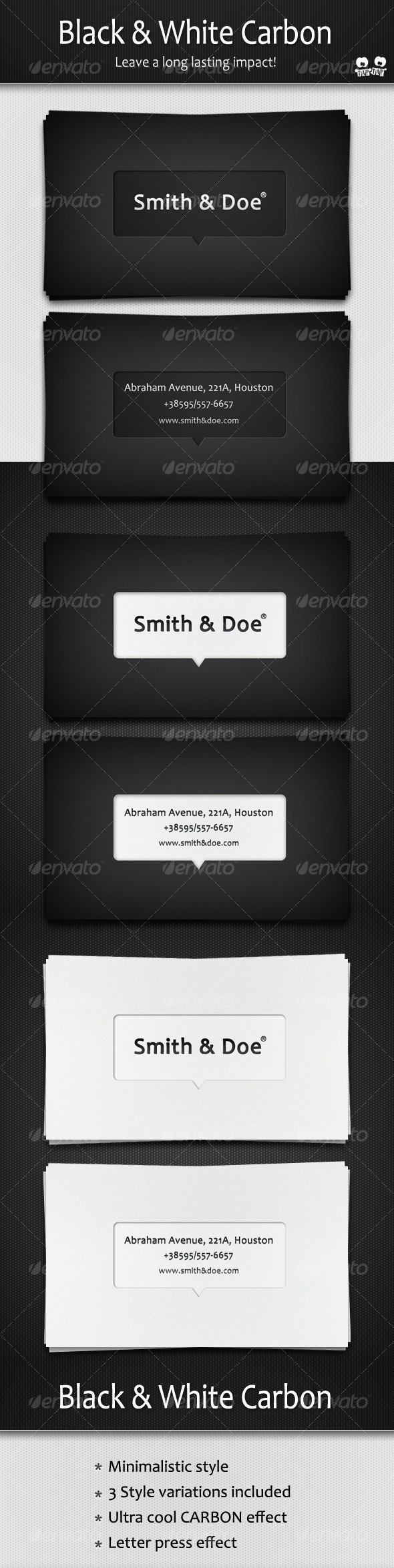 Black and White Carbon business cards - Corporate Business Cards