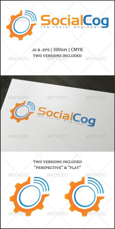 Social Cog Logo Template - Vector Abstract