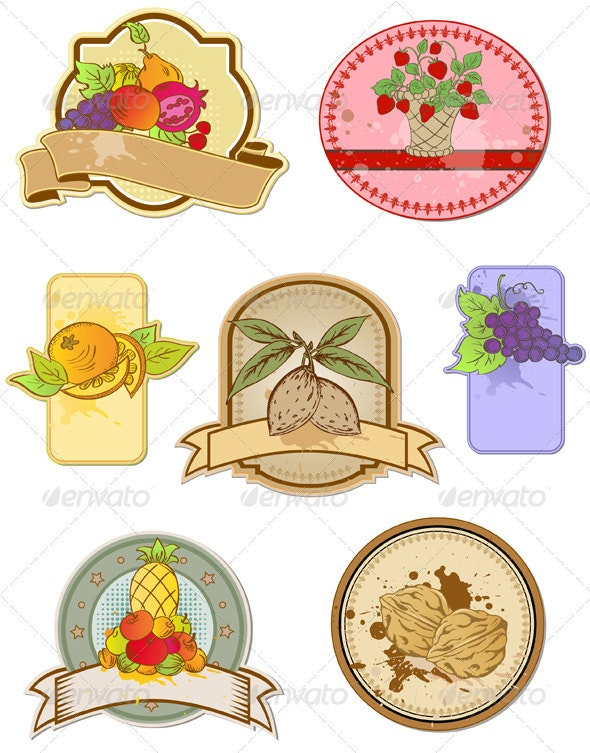 Set of Vintage Labels with Fruits - Food Objects
