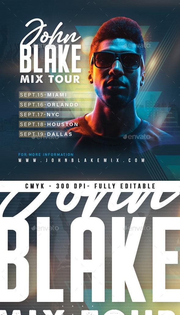DJ Mix Tour Flyer - Clubs & Parties Events