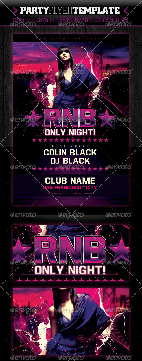 RnB Only Night Flyer Template - Clubs & Parties Events